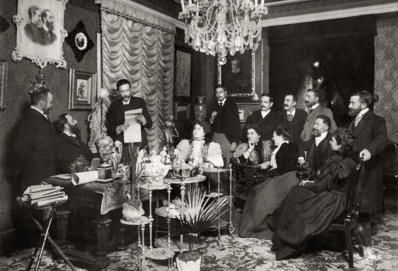 CH. FRANZEN. Benito Pérez Galdós leyendo su discurso de ingres